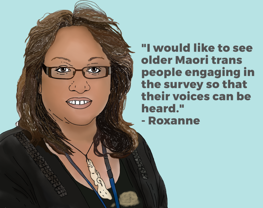 "Photo of Roxanne Peoples-Henare and her quote ""I would like to see older Maori trans people engaging in the survey so that their voices can be heard""."
