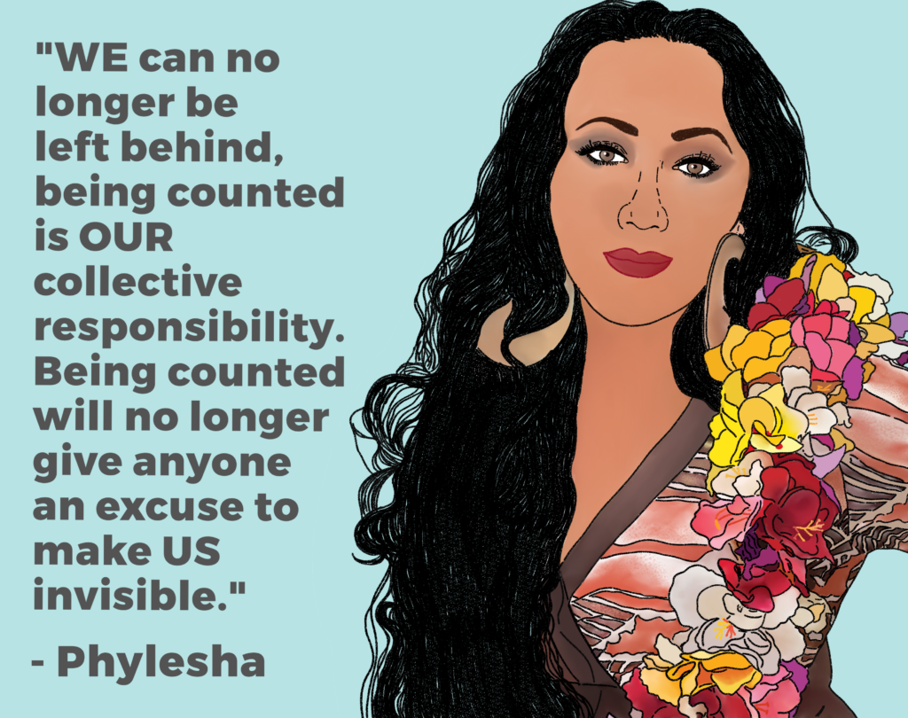 "Drawing of Phylehsa saying ""WE can no longer be left behind, being counted is OUR collective responsibility. Being counted will no longer give anyone an excuse to make US invisible""."