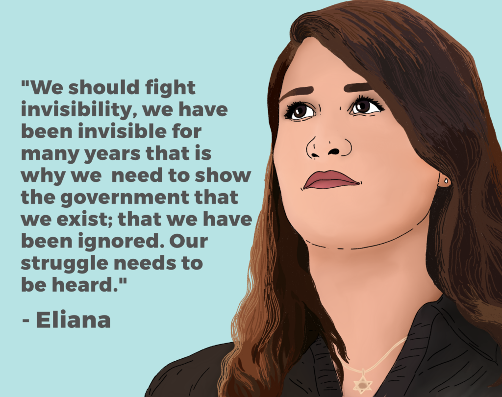 "Drawing of Eliana and her quote: ""We should fight invisibility, we have been invisible for many years that is why we need to show the government that we exist; that we have been ignored. Our struggle needs to be heard."""