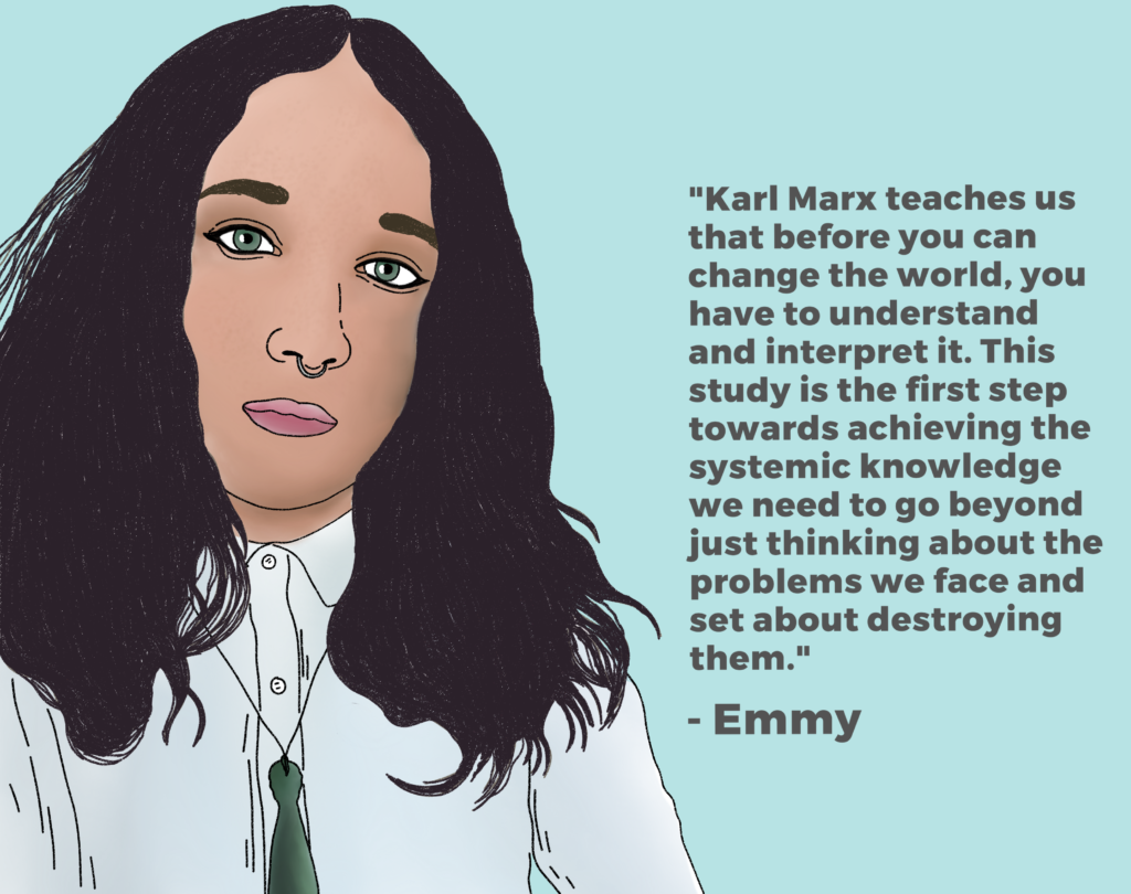 "Drawing of Emmy with her quote:""Karl Marx teaches us that before you can change the world, you have to understand and interpret it. This study is the first step towards achieving the systematic knowledge we need to go beyond just thinking about the problems we face and set about destroying them."""