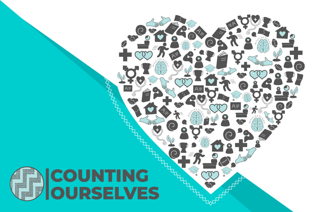 Stylised version of the Counting Ourselves report cover with the Counting Ourselves logo and a heart with images inside showing all the different issues covered by the report.