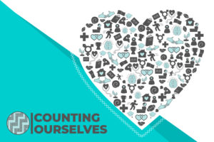 Stylised image of the cover of the Counting Ourselves report including a heart design made up of symbols of all the topics covered in the report